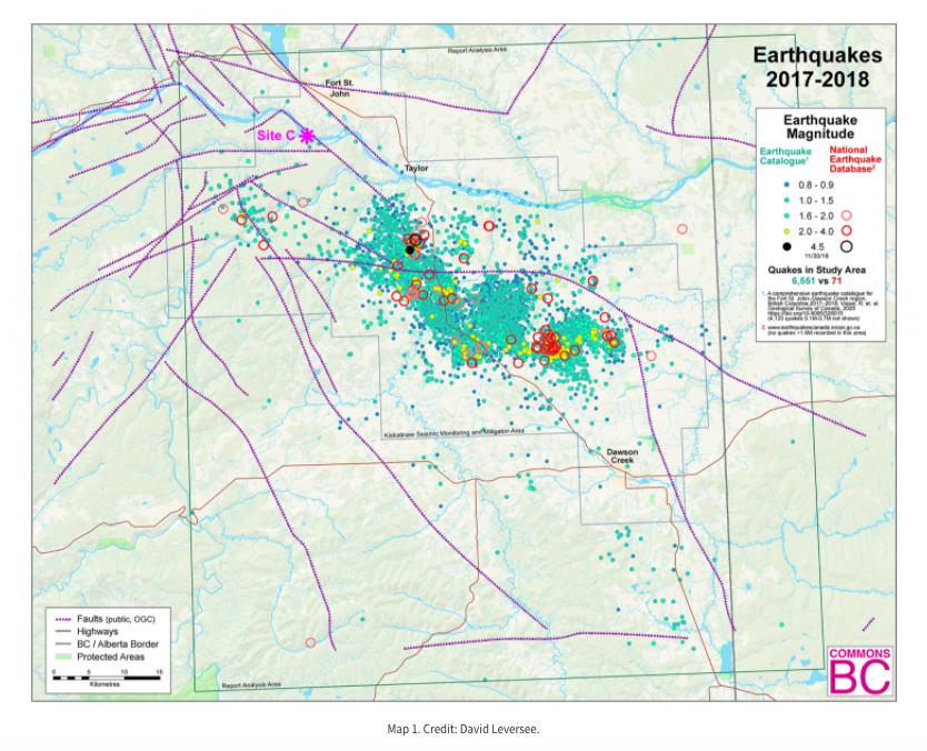 Fracking quakes near the Site C dam